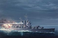 Battle of Cape Esperance, St. Louis-class heavy cruiser! (Art painting)