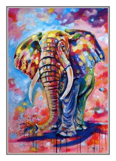 Buy Big colorful elephant x 50 cm), Acrylic painting by Kovács Anna Brigitta on Artfinder. Discover thousands of other original paintings, prints, sculptures and photography from independent artists. Lion Painting, Acrylic Painting Canvas, Artist Painting, Painting Tips, Watercolor Painting, Cross Paintings, Paintings For Sale, Original Paintings, Indian Paintings