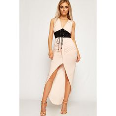 WearAll Ruched Slinky Corset Belt Dip Hem Maxi Dress ($34) ❤ liked on Polyvore featuring dresses, pink, evening dresses, hi low maxi dress, high low evening dresses, corset dresses and evening maxi dresses