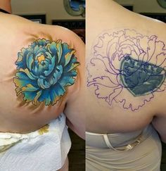 Hot-Women-Show-Side-Back-Cover-Up-With-Awesome-Blue-Flower-Tattoo-Design.jpg (600×618)