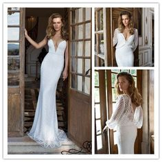 Find More Wedding Dresses Information about 2015 Sexy Openwork lace Deep V Neck sheath long sleeve wedding dress with jacket long beaded bride dress NT 806,High Quality dress mother of groom,China dress shirt Suppliers, Cheap dress for evening wedding from Suzhou Amy wedding dress co., LTD on Aliexpress.com