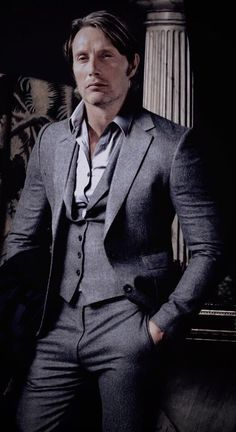 2017 Latest Coat Pant Designs Grey Tweed Men Suit Formal Slim Fit Classic Blazer Custom Men Tuxedo 3 Piece Terno Masculino Such a beautiful foto shoot, I made him take the clothes. I mean everything looks magical on him, and even better off 🤭☺🤗❤😝💯 Mads Mikkelsen, Tweed Men, Hannibal Lecter, Dr Hannibal, Hugh Dancy, Gary Oldman, Sharp Dressed Man, Michael Fassbender, My Guy