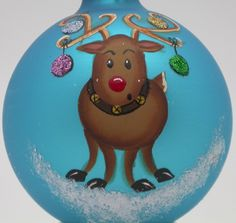 Hand Painted Custom Festive Rudolph the Reindeer Christmas Ornaments ...