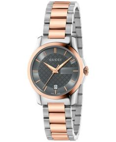 Gucci Women's Swiss G-Timeless Two-Tone PVD Stainless Steel Bracelet Watch 27mm YA126527 - Watches - Jewelry & Watches - Macy's