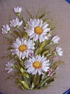 Wonderful Ribbon Embroidery Flowers by Hand Ideas. Enchanting Ribbon Embroidery Flowers by Hand Ideas. Ribbon Embroidery Tutorial, Ribbon Flower Tutorial, Embroidery Patterns Free, Silk Ribbon Embroidery, Hand Embroidery Designs, Embroidery Kits, Embroidery Tattoo, Embroidery Stitches, Embroidery Bracelets
