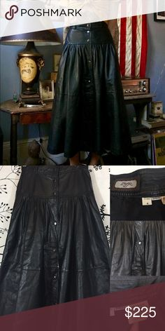Vintage Genuine Leather Midi Skirt This skirt is EVERYTHING!!!! From the beautiful Leather, to the button front PLUS it has POCKETS!!! Rare and amazingly stunning! Fully lined as well. Fits XS/24. toffs Skirts Midi