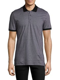 ANTONY MORATO MEN'S GEOMETRIC COTTON POLO SHIRT - BLACK, SIZE XL. #antonymorato #cloth #