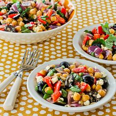Roasted Garbanzo and Vegetable Salad Recipe with Garlic, Feta, Olives, and Basil [from KalynsKitchen.com]
