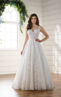 Style D2230: Romantic Boho Wedding Dress with Lace Train by Essense of Australia