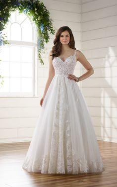 Style D2230: Romantic Boho Wedding Dress with Lace Train by Essense of Australia
