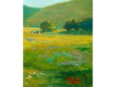 """Original art landscape """"Backyard Meadow"""" impressionist oil painting showing red bard by Tom Fisher Impressionist Landscape, Saturated Color, Backyard Landscaping, Fisher, Color Schemes, Original Art, Landscapes, My Arts, Oil"""