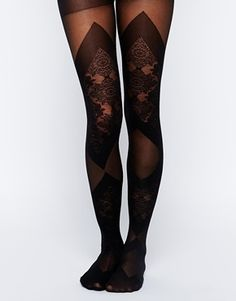 Steampunk Tights: Gipsy Lace and Sheer Bondage Look Tights - Black