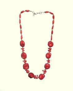 Coral Necklace, Red Necklace, Irregular Necklace, 925 Silver Necklace, Handmade, Natural Stones Necklace, Chakra , Healing, Taurus, Pisces de ArtGemStones en Etsy