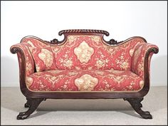 Solid Rosewood American Empire Sofa 1810 -1830 - Carved Cornucopias and Lion's Paw Feet - Couch - Setee