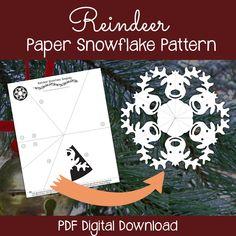 Reindeer Paper Snowflake Pattern PDF Digital by PaperSnowflakeArt Snowflakes Art, Snowflake Cutouts, Christmas Snowflakes, Christmas Paper, Diy Christmas Ornaments, Christmas Crafts, Simple Snowflake, Paper Snowflake Designs, Paper Snowflake Template