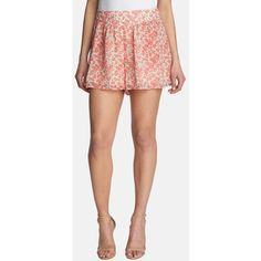 1.State 'Breezy Petals' Shorts (665 HNL) ❤ liked on Polyvore featuring shorts, red azalea, pleated shorts, red shorts, flower shorts, red ruffle shorts and ruffle shorts