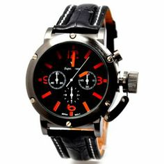 Fashionable 6 Hand & Large Dial Watch for Men with Quartz: USD $12.74