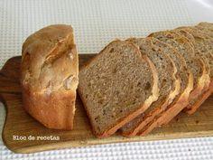 Pan de molde de espelta con nueces y jengibre confitado en panificadora