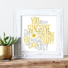 You Are My Sunshine Watercolor Print Kids Wall Art by nutsyandme