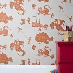 ''ere-be-dragons' Stone-Taupe wallpaper