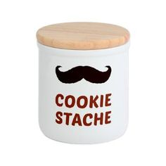 Funny Mustache Cookie Stache Cookie Jar - A disguised cookie stash.