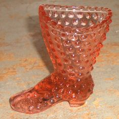 Vintage Fenton Glass Boot Hobnail Pink Glass Shoe by TheBackShak