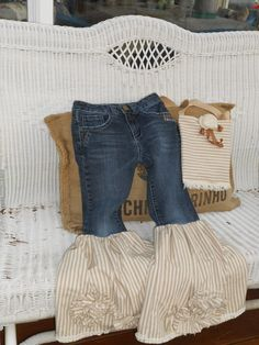 Darling Upcycled Jeans and Bag set by ForeverFunCouture on Etsy
