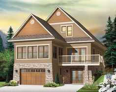 Architectural Designs House Plan 22321DR. Drive under garage and two floors above. 4 beds, 3 baths, and just under 3,000 sq. ft. of living space. Fun as a vacation escape. Plan Link: http://www.architecturaldesigns.com/house-plan-22321dr.asp