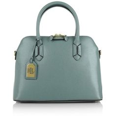 Lauren Ralph Lauren Dome Satchel Cameo Blue/Cocoa  in blue, Handle... (£144) ❤ liked on Polyvore featuring bags, handbags, blue, blue handbags, dome satchel, green handbags, blue leather handbags and leather handbags