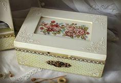 Ольга Жебчук Jewellery Boxes, Jewellery Storage, Jewelry Box, Decoupage Box, Decoupage Vintage, Wooden Case, Wooden Boxes, Vintage Box, Diy Box