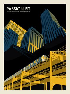 PASSION PIT -MSG SUBWAY « Limited Edition Gig Posters « Methane Studios. #gigposters #music #musicart http://www.pinterest.com/TheHitman14/music-poster-art-%2B/