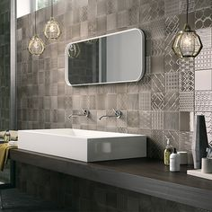 """Tapestry_Matrix is the fusion of two collections around the same colour palette. The term """"Tapestry"""" refers to tone-on-tone patterned Matrix Color, Charcoal Color, Pattern Mixing, Bathroom Inspiration, Colorful Decor, Wall Colors, Wall Tiles, Double Vanity, Tapestry"""