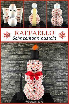Zum Raffaello Schneemann basteln benötigst du ca. eine Stunde Zeit und hast damit eine schöne Weihnachtsdeko oder ein leckeres Weihnachtsgeschenk.