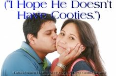 Husband kissing his wife, while she hopes that he doesn't have cooties.