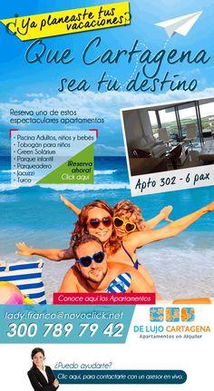 #Novoclick esta con #Alquiler de Apartamentos en Cartagena #Vive Tus Vacaciones Soñadas Jacuzzi, Mail Marketing, Movies, Movie Posters, Swiming Pool, Condos, Apartments, Cartagena, Vacations
