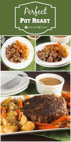 Perfect Pot Roast Recipe ~ with instructions to make it in the oven or slow cooker! Seasoned just right and served with homemade gravy and tender carrots, onions and potatoes, this will be your new go-to recipe!