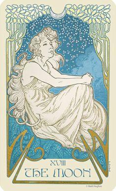The Moon tarot card from the tarot deck by Art Nouveau artist Matt Hughes.