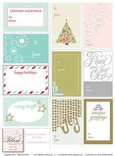 FREE pretty Christmas labels to print, like the red and aqua one, maybe use for christmas tags