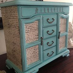 Vintage Jewelry Box Upcycled Hand Painted And Decoupaged In Tiffany Blue