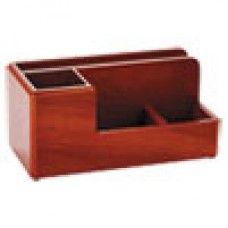 Desk Supplies> Desk Set / Conference Room Set >Organizers: Wood Tones Desk Organizer, Wood, 4 1/4 x 8 3/4 x 4 1/8, Mahogany