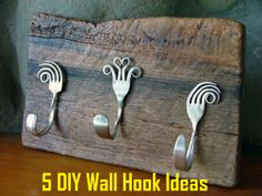5 DIY Wall Hook Ideas.  Cute for the kitchen