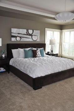 love this bedroom  wall color - Mocha Accent by Behr by miranda