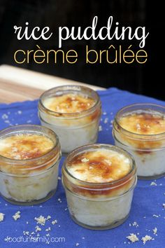I don't know about you, but I love that there are only 3 ingredients in this rice pudding crème brûlée! You've got a fancy flavor with very little work (trust me...no one would guess that you didn't slave away in the kitchen to create a dessert this tasty)