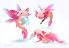 CAT axolotl fairy familiar :-D Fantasy Animal, Cute Fantasy Creatures, Mythical Creatures Art, Cute Creatures, Magical Creatures, Monster Art, Monster Design, Monster Hunter, Cute Animal Drawings
