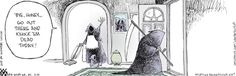My favorite Non Sequitur cartoon of all time, featuring the Grim Reaper heading out for work. Laugh Cartoon, Funny Cartoons, I Love To Laugh, Make Me Smile, Good Goodbye, Halloween Cartoons, Halloween Humor, Non Sequitur, The Grim