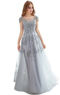 4d4359d069d BessWedding Women s Sexy Long Light Grey Lace Cap Sleeves Evening Party  Dresses -- Continue to