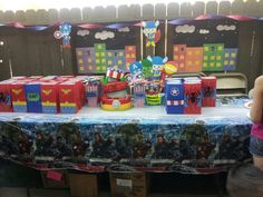 Superheroes birthday idea. All the goodie bags and decorations were homemade! They were really easy!