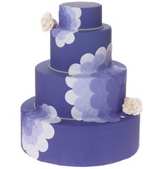 Mod purple flower wedding cake