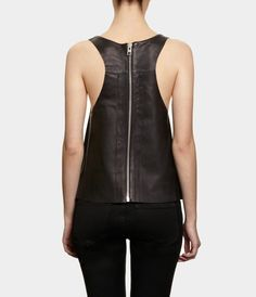 Simple yet modern and elegant rear zip leather tank.  Black leather fabric: http://www.MJTrends.com