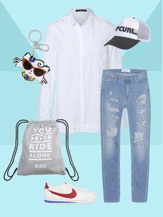Gerade geschnittene Bluse Damit eine Bluse mit geradem Schnitt nicht zu spießig wirkt, kombinierst du sie am besten mit einer zerrissenen Jeans und Trend-Sneakern, wie die Nike-Cortez. Jetzt fehlen nur noch sportliche Accessoires wie ein Gymsack und eine Trucker-Cap.